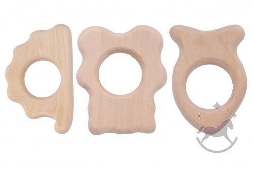 Sæt af bide-legetøj i  træ