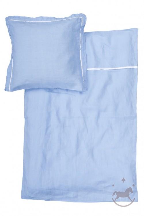 Baby sengetøj i 100% hør, BLUE