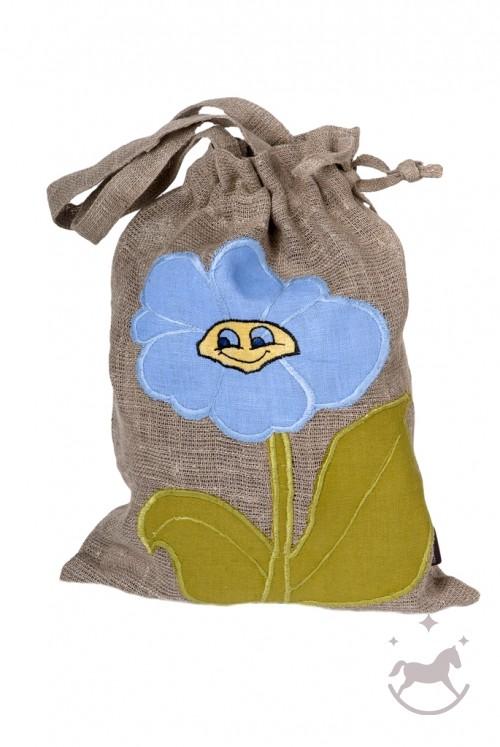 Håndfarvet taske i hør BLOMST