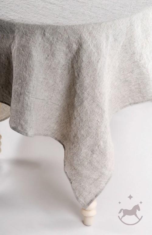 Natural linen tablecloth, grey