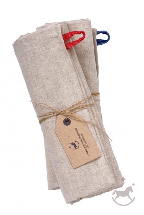 Badehåndklæde i hør og bomuld,  2 stk., naturfarvede, HAN og HUN