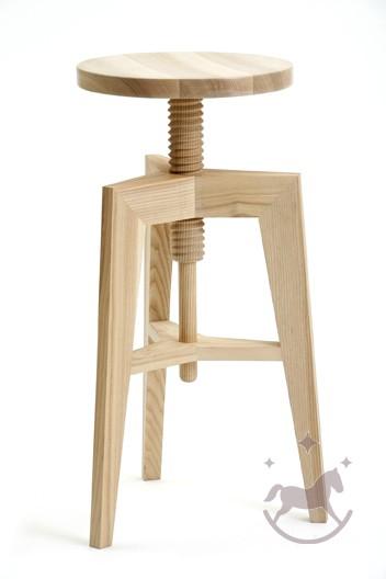Retro barstol af massiv ask