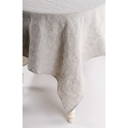 Natural linen tablecloth, grey